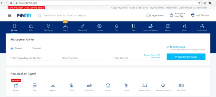 PayTM Home Page Screenshot