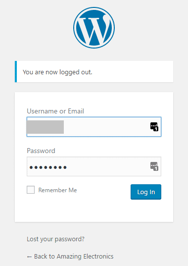 WP Login Screen