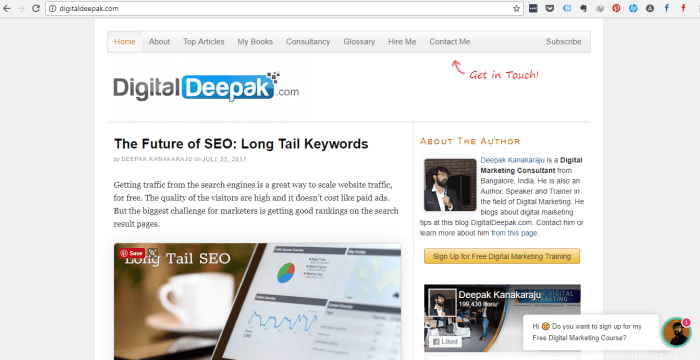 DigitalDeepak Homepage Screenshot