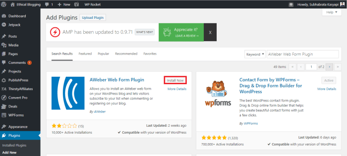 Installing a WordPress Plugin Using WordPress Plugin Repository 2
