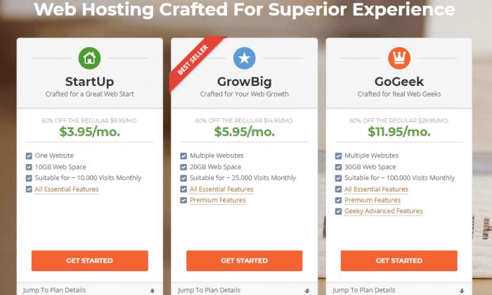 SiteGround Webhoting Plans Screenshot 1