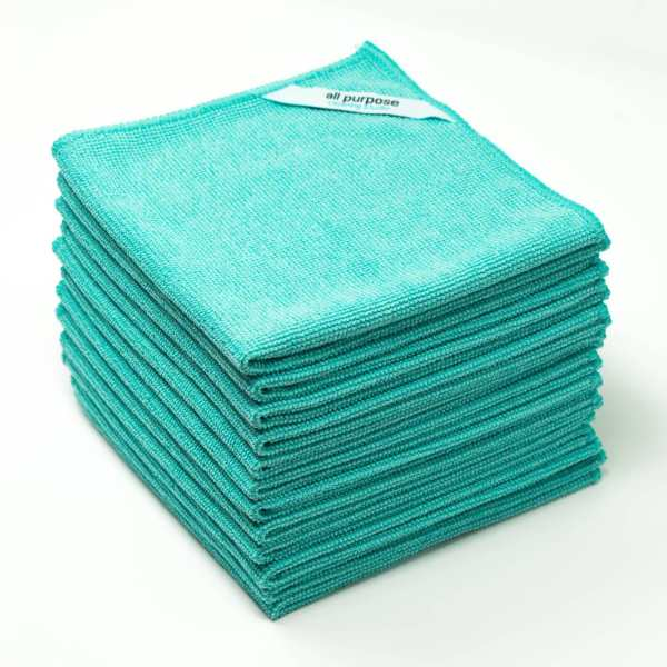 A perfect teal colored all purpose microfiber cleaning cloth