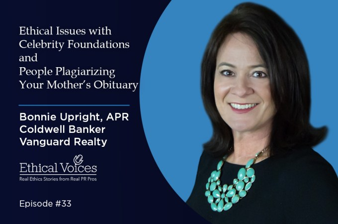 Ethical Issues with Celebrity Foundations and People Plagiarizing Your Mother's Obituary - Bonnie Upright