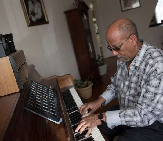 Hailu Mergia at home: 'The Lady Is a Tramp – I love that one! My favourite is old jazz.' Photograph: Sait Serkan Gurbuz for the Guardian