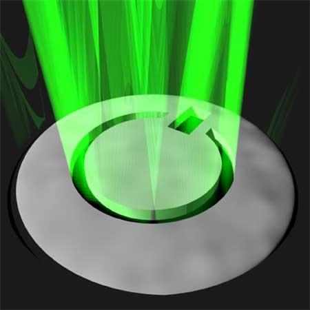 pulsante con fascio di luce verde