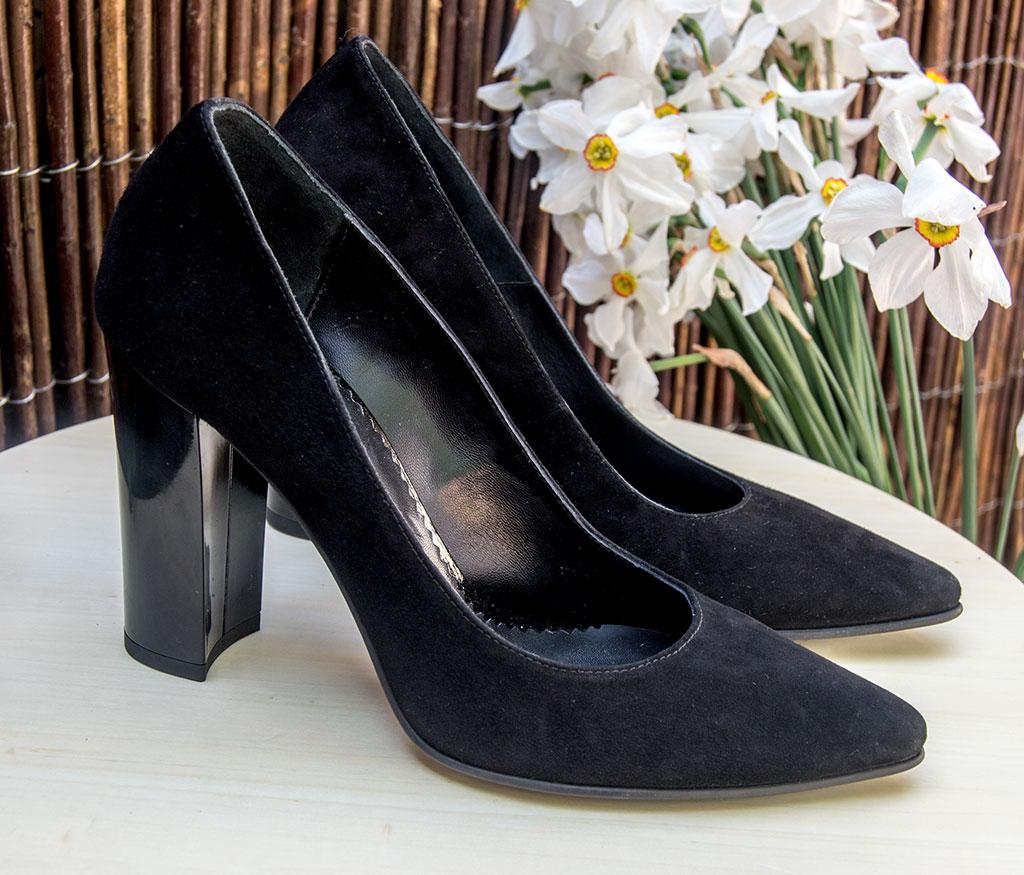 pantofi dama ieftini din velur negru