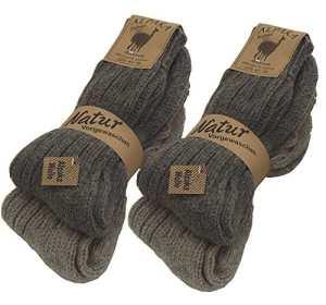 BRUBAKER Chaussettes tricotées en Alpaga – Lot de 4 Paires – 100% Laine d'alpaga – Unisexe – 39-42 – Gris