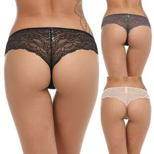 Ekouaer Lot Culotte Femme Coton Dentelle Sexy Slip Taille Basse Noir Beige Gris Lingerie Taille 48-50 XL