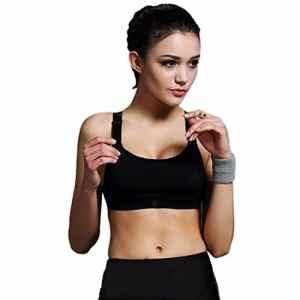 Encounter Femme Soutien-gorge de Sport Sous-vêtements Bra Brassière pour jogging Yoga Gym Fitness (S, Noir)