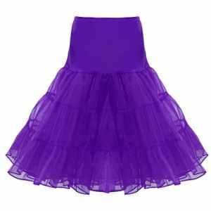 Retro Jupon Long Jupon Année 50 Chic Crinoline Rockabilly Petticoat Tutu – Violet, L