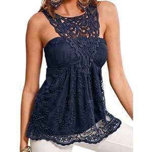 ROPALIA Femmes Tops Camisole Sans Manche Veste Débardeur T-Shirt Dos Nu. (XL, Bleu Marine)