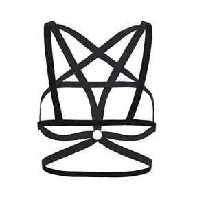 TiaoBug Lingerie Femmes Sous-vêtement Bandage Séduisante Harnais Bra Cage Bustier Bra Bretelles Élastique Soutien-gorge Strappy Crop Top S-XL Noir S