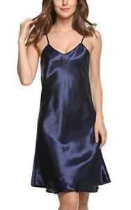 Avidlove Robes de nuit femmes Chemises de nuit en satin nuisette confortable et élégante Taille 34-50(S-XXL), Bleu foncé, M UK S