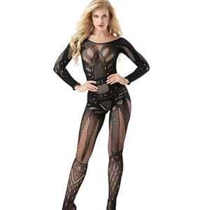 Combinaison à manches longues sexy Fishnet pour femme et femme à manches longues
