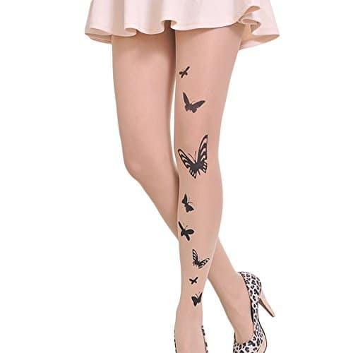 Westeng Collants Femme Collants Bas Collants en Soie Collants Imprimé Papillon