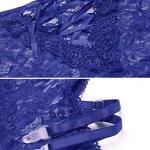Adome Femme Ensembles De Lingerie Dentelle Porte-Jarretelles Transparent, Bleu, XX-Large