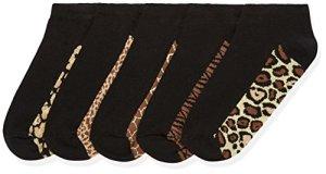 FIND Socquettes Imprimé Animal Femme (lot de 5), Noir (Schwarz), Medium