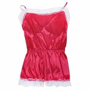 Pyjama jointif – TOOGOO(R) Mode femmes Sexy en Satin en Dentelle Robe d'ete Pyjama jointif Lingerie Nuisette La robe du soir Rouge Rose L