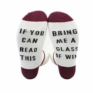 Bliefescher Chaussette de Compression Impression Lettre If You can read this Bring Me a Glass of Wine/Coffee/Beer