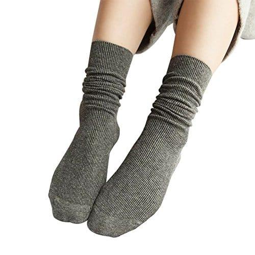 Westeng Longues chaussettes en Coton Socquettes Couleur unie rétro Élasticité Chaussettes de tube pour Femmes