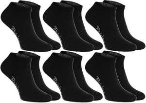 6 paires de chaussettes courtes, noires, fabriquées en Europe, de coton, beaucoup de tailles 39 40 41, la plus haute qualité, femmes et hommes by Rainbow Socks