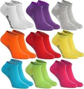 9 paires de chaussettes courtes dans les couleurs blanc, violet, gris, orange, rouge, jaune, vert mer, vert, fuchsia,le coton certifié avec Oeko-Tex, tailles 36 37 38