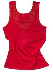 Débardeur – coton peigné – large empiècement dentelle – sans couture latérale – femme (44/46, rouge)
