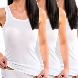 HERMKO 1325 Lot de 3 Longshirts 100% coton débardeurs pour Femme pour sens dessus dessous, Couleur:blanc, Taille:42/44 (M)