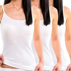 HERMKO 1560 lot de 3 débardeurs femmes, 100% coton, Couleur:blanc, Taille:42/44 (M)