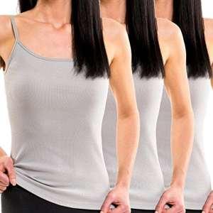 HERMKO 1560 Lot de 3 débardeurs Femmes, 100% Coton, Taille:50/52 (XL), Couleur:Gris