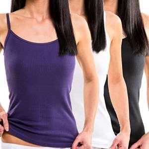 HERMKO 1560 Lot de 3 débardeurs Femmes, 100% Coton, Taille:50/52 (XL), Couleur:Mix n/b/l