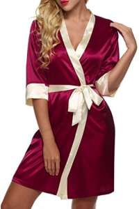 Pagacat Kimono Femme Sexy Robe de Nuit Peignoir Satin Pure Vêtements Chemise de Nuit