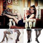 ANDIBEIQI Collants Bas Résille 6 Paires Femmes Hollow Collant extensible filet élastique confortable noir/motifs fleurs