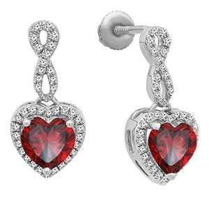 DazzlingRock Collection Femme Round 10K Or Jaune Rubis et Blanc Diamant 3 Swirl Pierre Halo nuptiaux Engagement (9)