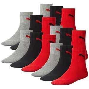 PUMA Unisexe Shorts Ras du cou Chaussettes chaussettes Chaussettes/socquettes pour sport AVEC SEMELLES ÉPONGE Série 12 Paquet – Noir/Rouge (232), 35/38