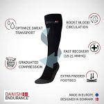 DANISH ENDURANCE Chaussettes de Compression de (Noir – 2 Paires, EU 35-38 // UK 3-6)