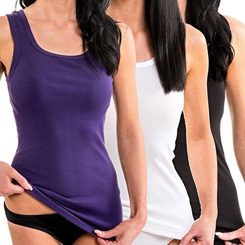 HERMKO 1325 Lot de 3 Longshirts 100% coton débardeurs pour Femme pour sens dessus dessous, Taille:50/52 (XL), Couleur:Mix n/b/l