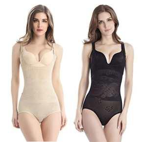 Tuopuda Femme Body Gainant Amincissant Ventre Plat Shapewear Sculptante Combinaisons Body Shaper (S (Waist 18.3-21.1 inch), 1 Beige + 1 Noir)