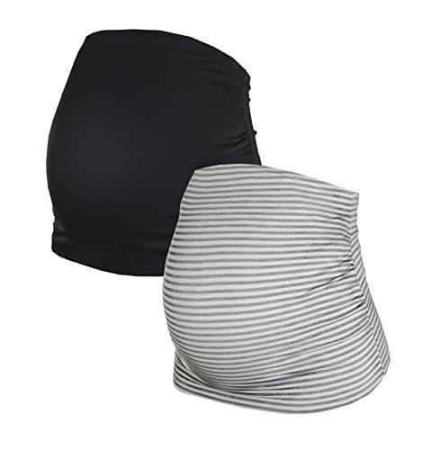 Herzmutter Bandeau pour Les Femmes Enceintes en Paquet de Deux, Bandes de Ventre de Grossesse Maternité, Noir-Gris-Bleu-Rouge-Blanc-rayé (6000) (XL, Noir/Gris-rayé)