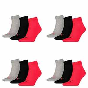 12 pair Puma Sneaker Quarter Socks Unisex Mens & Ladies, Socken & Strümpfe:43-46, Farben:232 – black / red