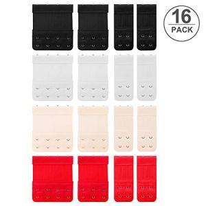 Yosemy Bra Extension Extender, Soutien Gorge Bra Extension 4 Crochets, 3 Crochets et 2 Crochets Lot DE 16(Noir, Blanc,Couleur De la Peau, Rouge)