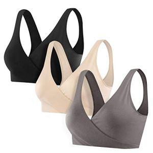 Wirezoll Soutien Gorge d Allaitement, Coton Femme Soutien-Gorge de Maternité sans Couture pour Enceinte Femme/Allaitant/Sommeil (1Ardoisé + Noir + Beige(3Pack), XXL)