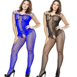 2 Paires Femmes Combinaison Sexy Lingerie Dos Nu Bodystocking Ouvert Bodys Bas pour Porte-Jarretelles sous-všºtement (Noir+Bleu)