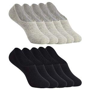 YOUCHAN Chaussettes Basses pour Femmes Hommes Invisible Socquettes 10 Paires Antiglisse de Sport en Coton-Noir-Gris-35-38
