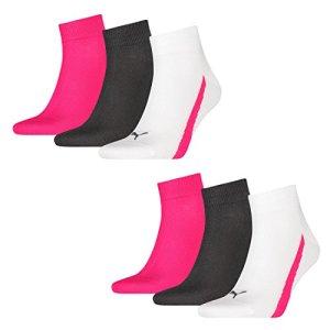 Puma 6 pairs of Lifestyle Quarter Socks Gr. 35-46 Unisex sneaker booties, Farben:477 – beetroot, Socken & Strümpfe:39-42