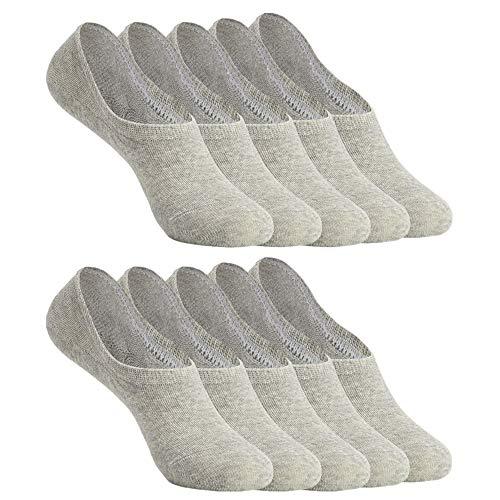 YOUCHAN Chaussettes Basses pour Femmes Hommes Invisible Socquettes 10 Paires Antiglisse de Sport en Coton-Gris-35-38