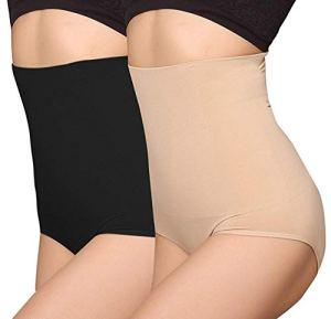 ANGOOL Femme Taille Haute Serre Taille Boby Shapewear Culotte Amincissante Ventre Plat, Noir+beige, M (Lot de 2)
