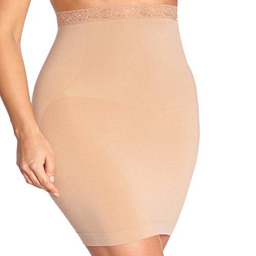 BODY WRAP Jupe Sculptante Taille Haute Grande Taille Bordée Dentelle – Amincissante Gainante – Ventre Plat – Invisible sans Couture – Femme – Maintien – Beige 46/48-2X