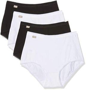 Playtex Coton Stretch Culotte Maxi Taille Haute Femme, Multicolore (Blanc/Noir 04x), 52 ,Lot de 4