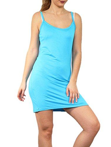 Miss Rouge Fond de Robe à Bretelle,Top Long,Bretelle (Turquoise)